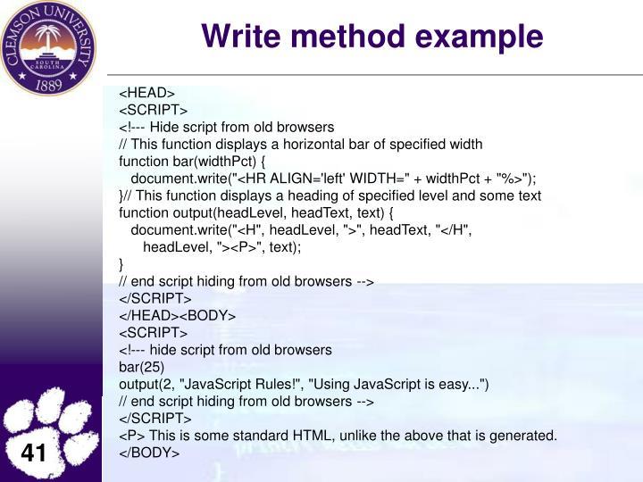Write method example