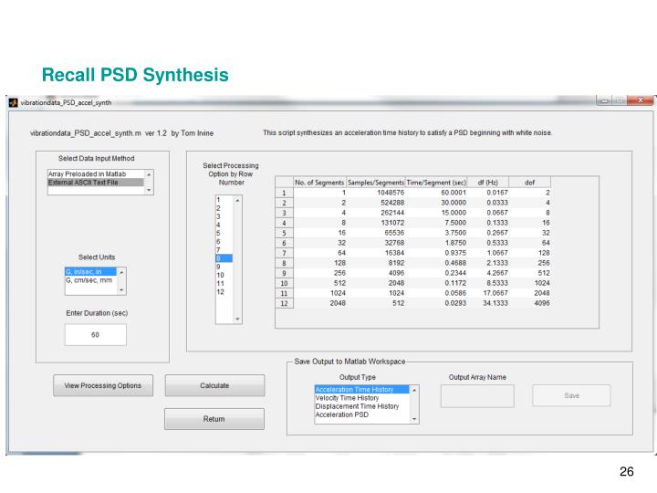 Recall PSD Synthesis