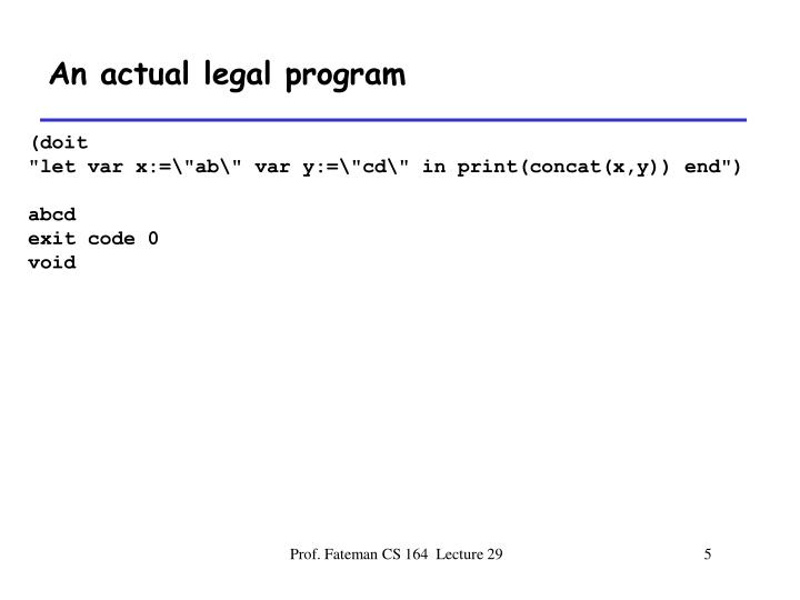 An actual legal program