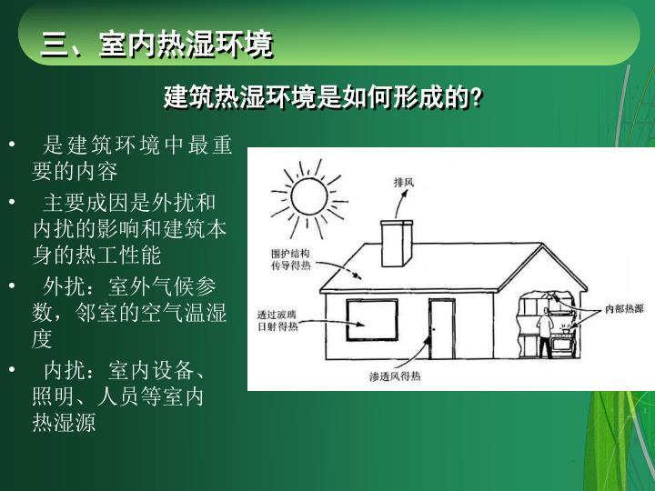 建筑热湿环境是如何形成的