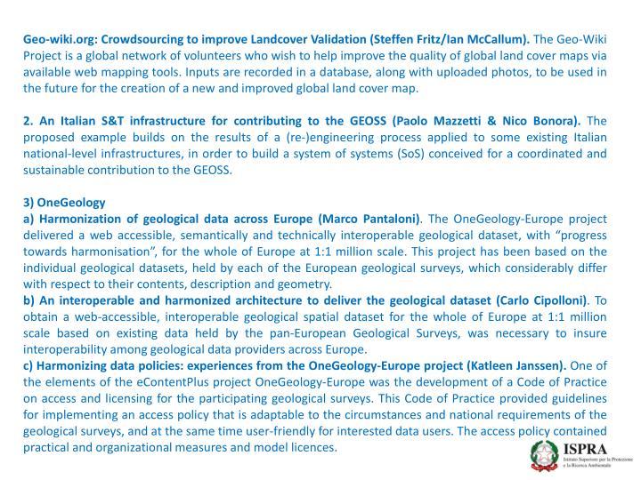 Geo-wiki.org: Crowdsourcing to improve Landcover Validation (Steffen Fritz/Ian McCallum).
