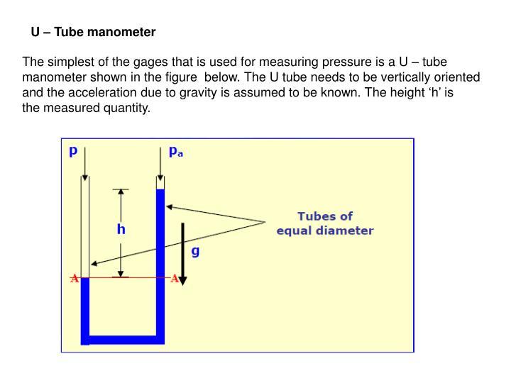 U – Tube manometer