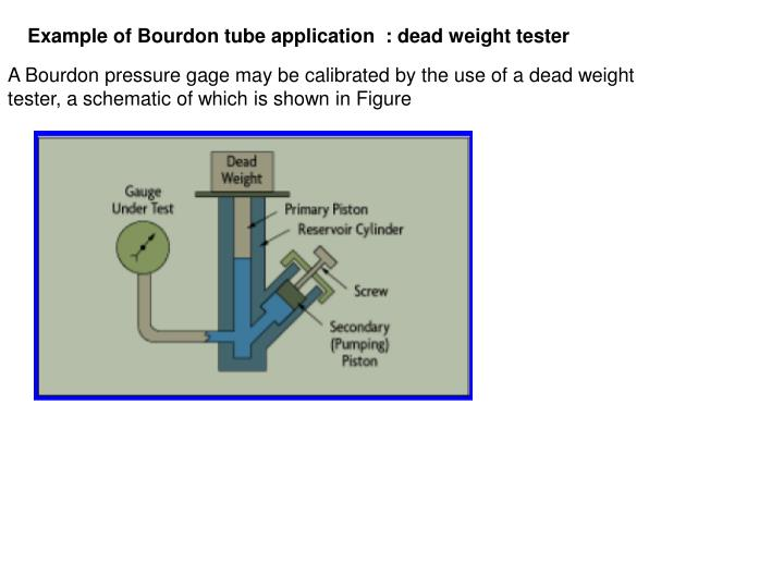 Example of Bourdon tube application  : dead weight tester