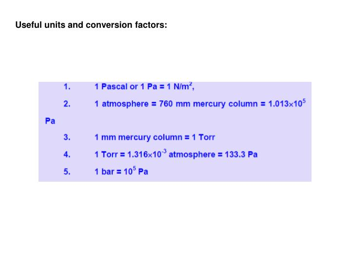Useful units and conversion factors: