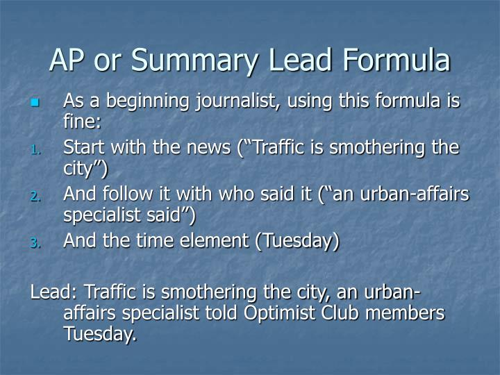 AP or Summary Lead Formula