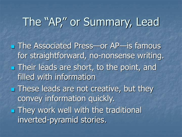 "The ""AP,"" or Summary, Lead"