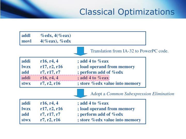 Classical optimizations