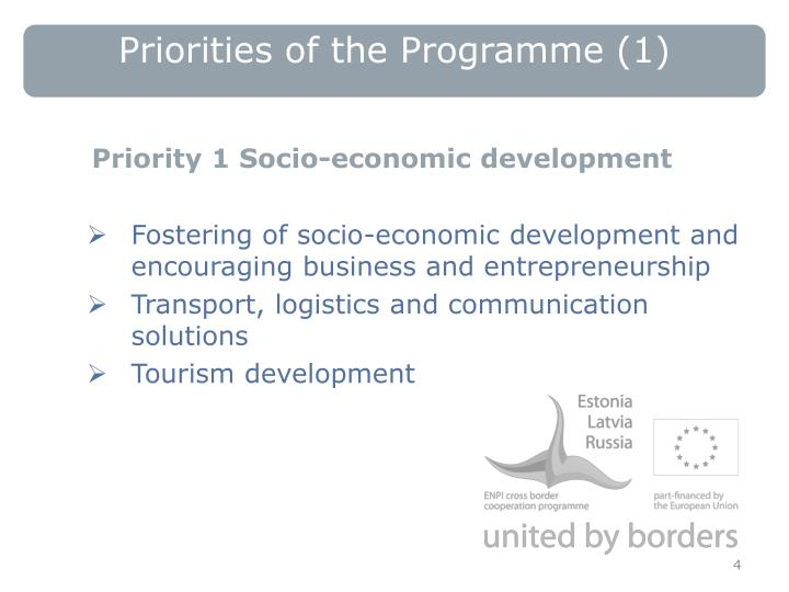 Priorities of the Programme