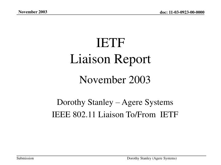 ietf liaison report n.