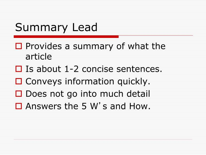 Summary lead