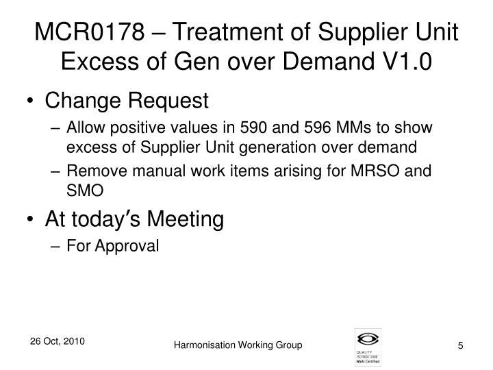 MCR0178 – Treatment of Supplier Unit Excess of Gen over Demand V1.0
