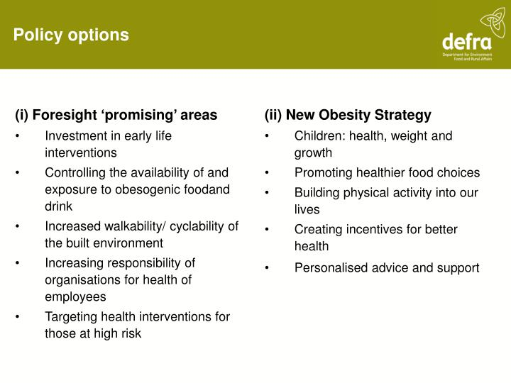 (i) Foresight 'promising' areas