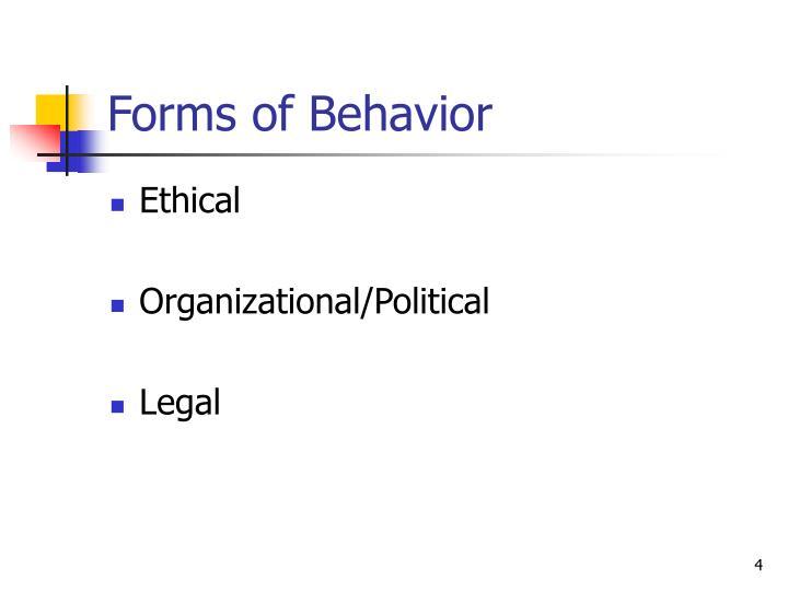 Forms of Behavior