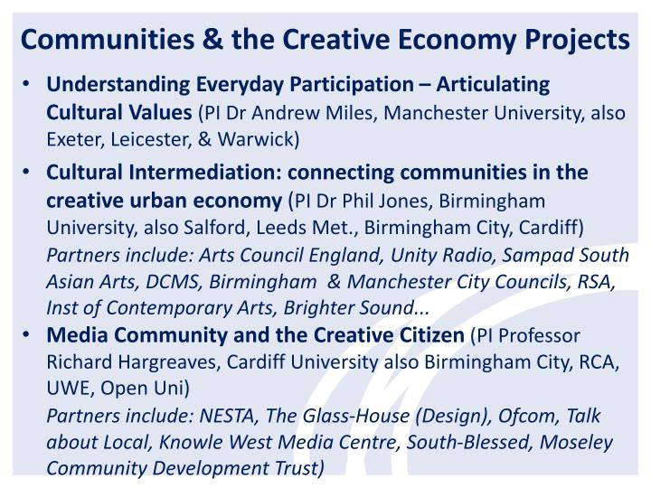 Communities & the Creative Economy Projec