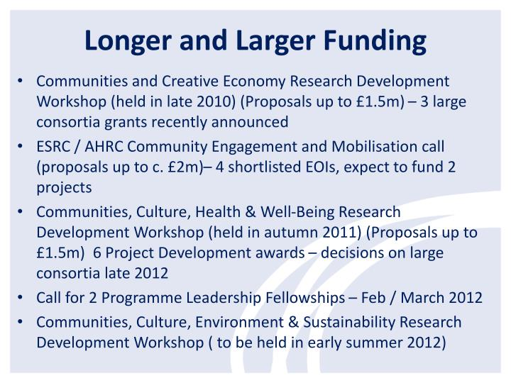 Longer and Larger Funding