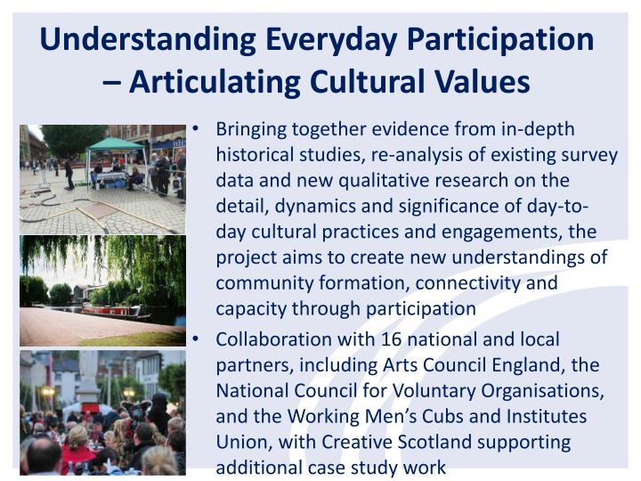 Understanding Everyday Participation – Articulating Cultural Values
