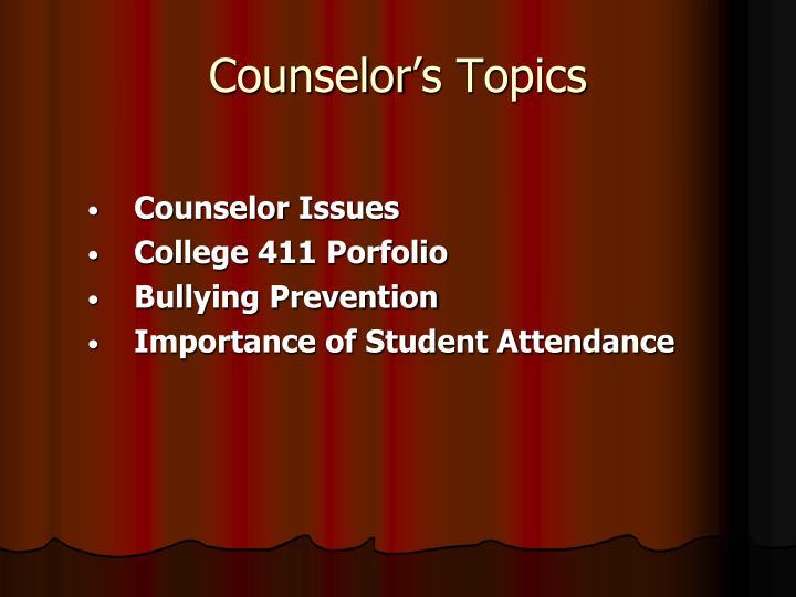 Counselor's Topics