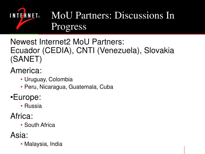 MoU Partners: Discussions In Progress
