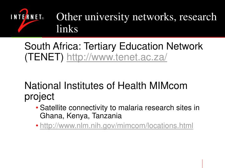 Other university networks, research links