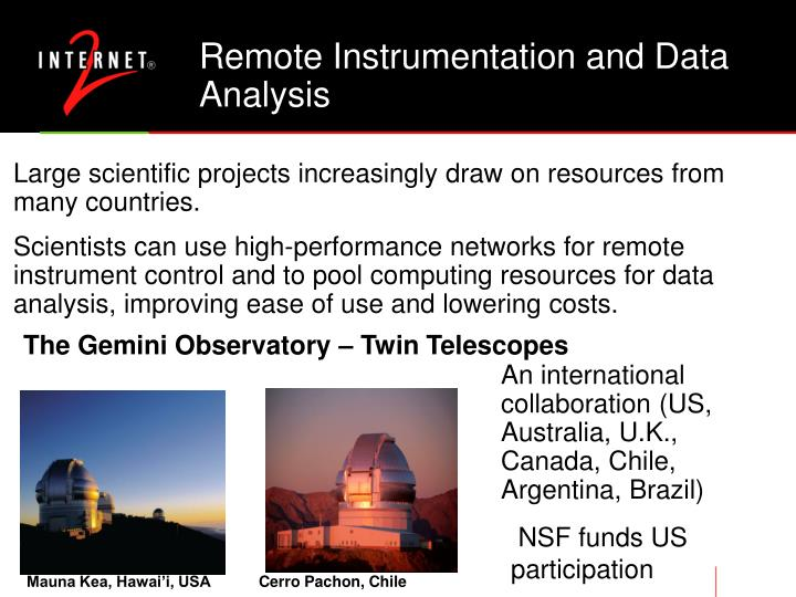 Remote Instrumentation and Data Analysis