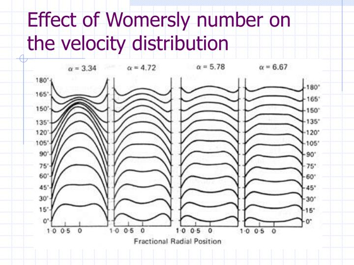 Effect of Womersly number on the velocity distribution