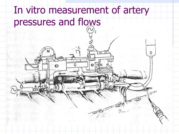 In vitro measurement of artery pressures and flows