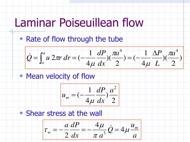 Laminar Poiseuillean flow