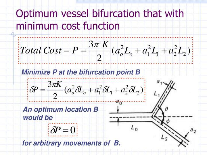 Optimum vessel bifurcation that with minimum cost function