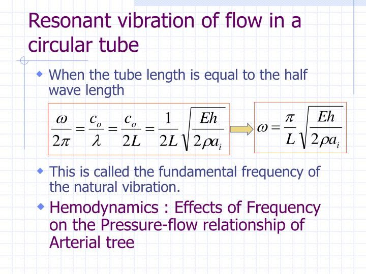 Resonant vibration of flow in a circular tube