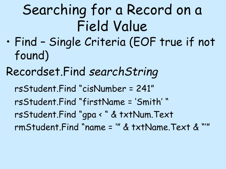 Searching for a Record on a Field Value