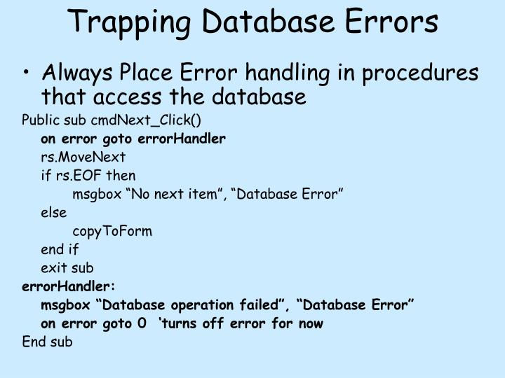Trapping Database Errors