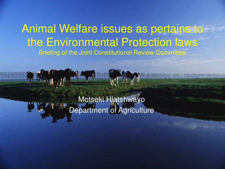 Animal Welfare issues as pertains to the Environmental Protection laws