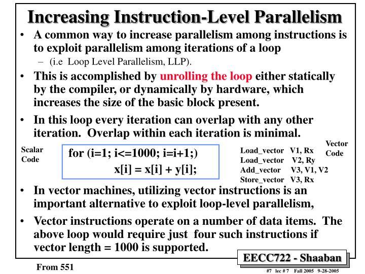 Increasing Instruction-Level Parallelism
