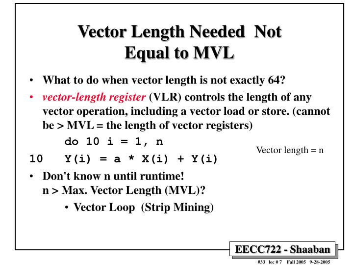 Vector Length Needed  Not Equal to MVL