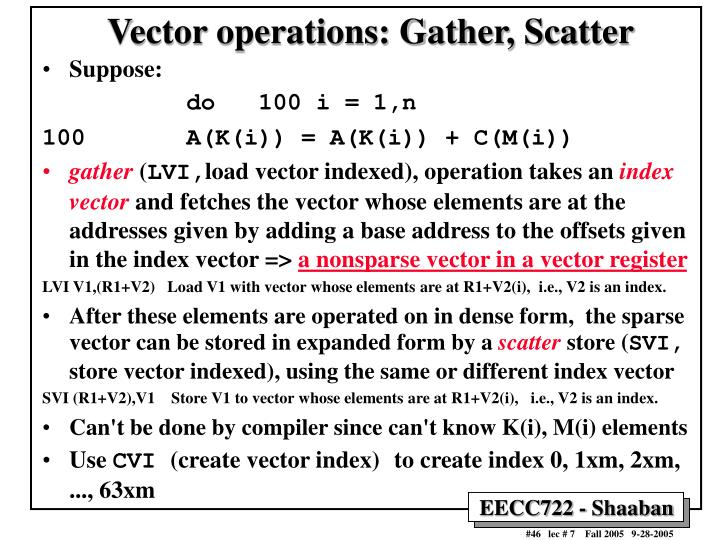 Vector operations: Gather, Scatter