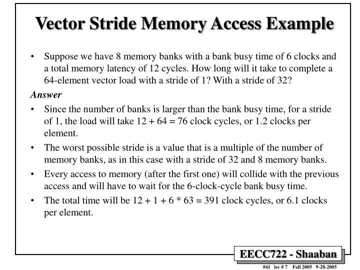 Vector Stride Memory Access Example