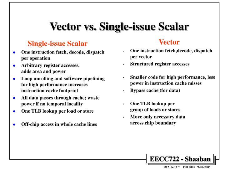 Vector vs. Single-issue Scalar