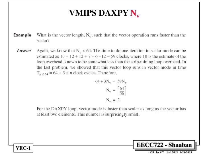VMIPS DAXPY