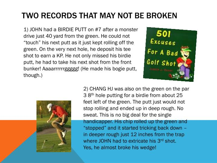 TWO RECORDS that may not be broken