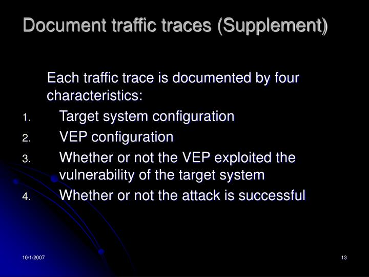 Document traffic traces (Supplement)