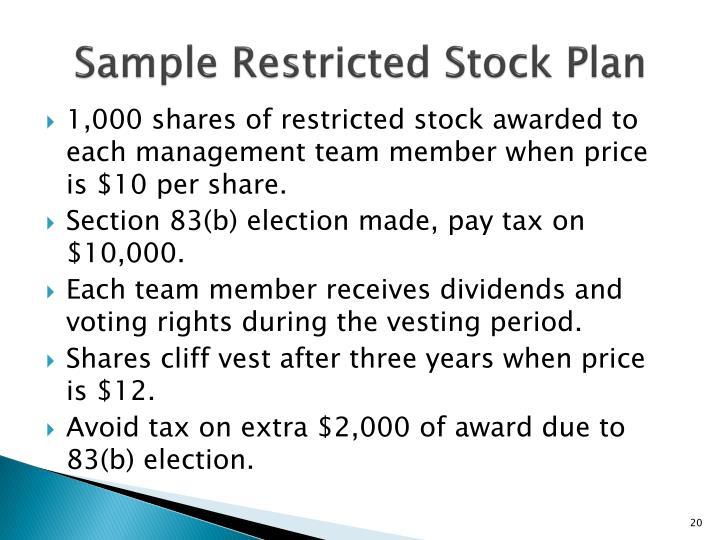 Sample Restricted Stock Plan