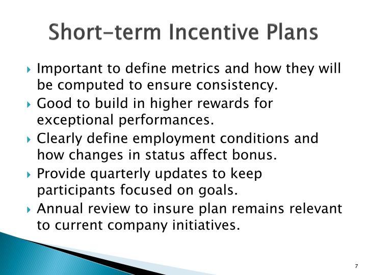 Short-term Incentive Plans