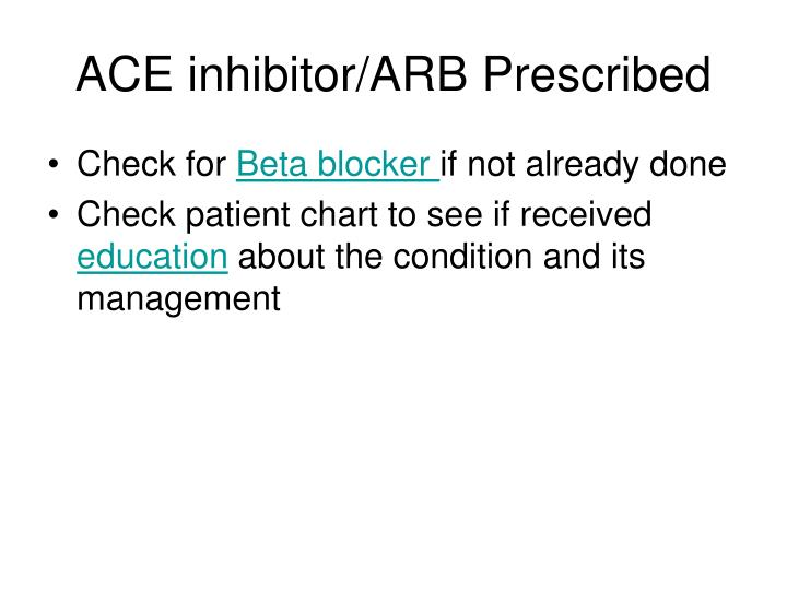 ACE inhibitor/ARB Prescribed