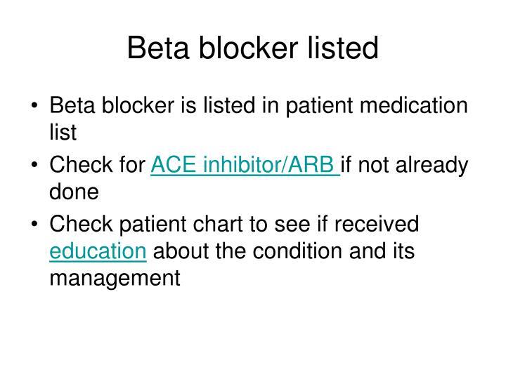 Beta blocker listed