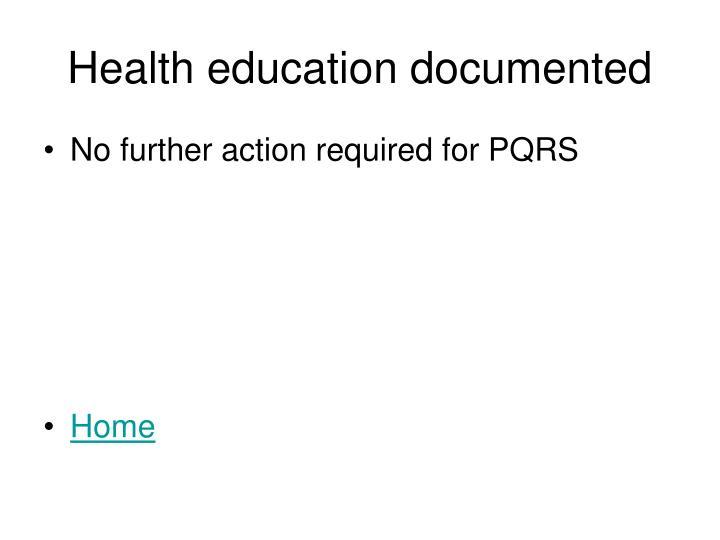 Health education documented