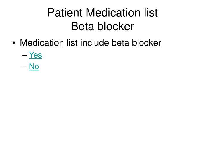 Patient Medication list