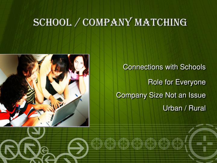 School / Company Matching