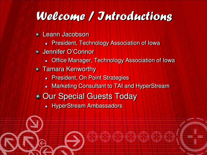 Welcome introductions