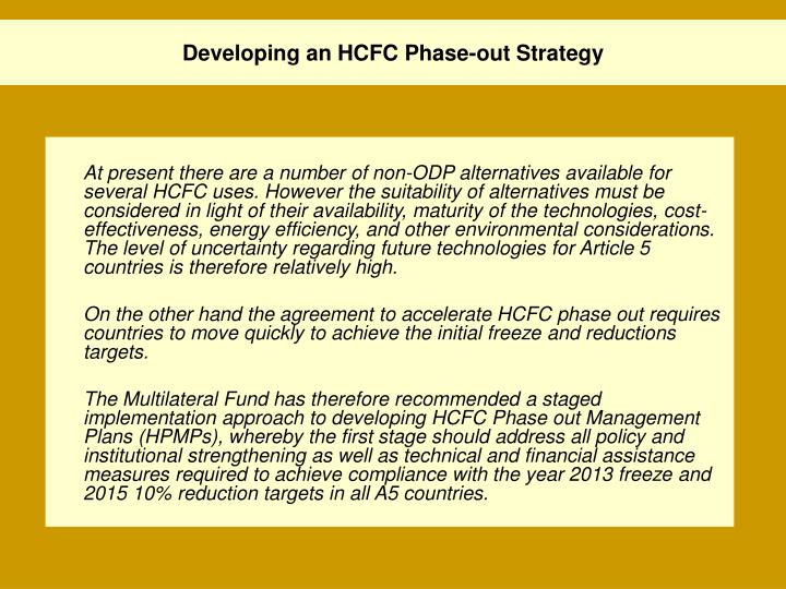 Developing an hcfc phase out strategy