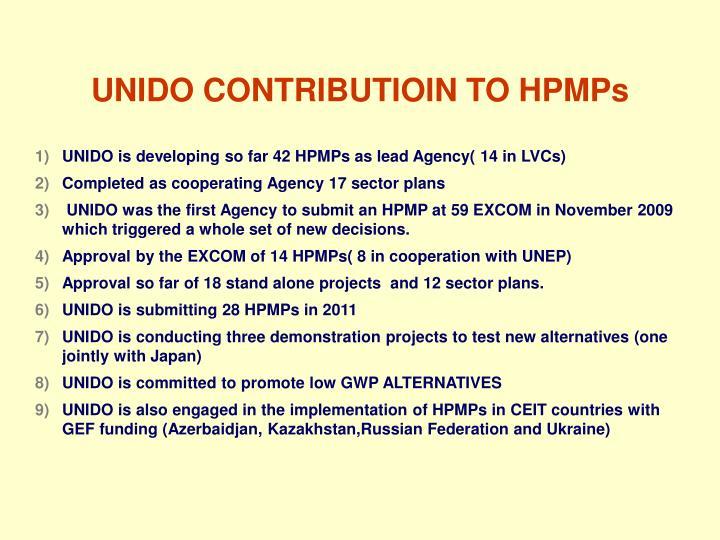 Unido contributioin to hpmps